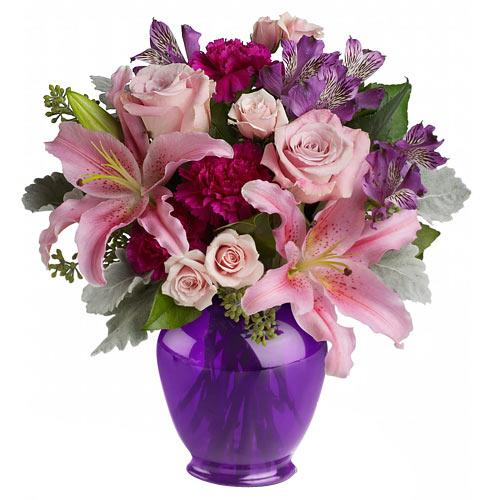 Valentines Day Fragrant Mix of Roses, Lilies and other Flowers in a Glass Vase