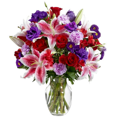 Fabulous Mixed Color Flowers Bunch for Romantic V-Day