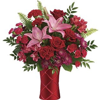 Gorgeous Floral Arrangement in Red Glass Vase for Valentines Day �<br>