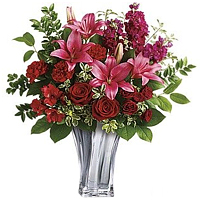 V-day Bliss Bouquet of Red Roses and Pink Lilies in a Glass Vase