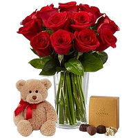 V-Day Striking Set of Red Roses in a Glass Vase with Seated Plush Bear and Godiva Chocolates<br>