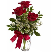 Artfully Arranged Red Roses in a Glass Vase<br>