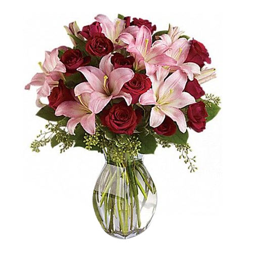 Long-Stem Red Roses and Pink Lilies in a Glass Vase <br>