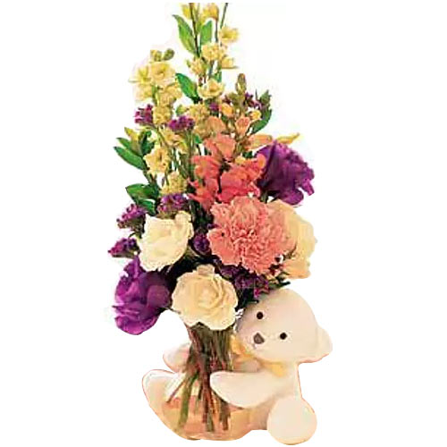 Valentines Day Outstanding Gift of Floral Vase with Teddy Bear