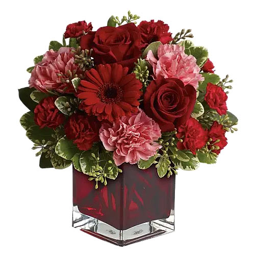 Attention-getting Arrangement of Mixed Flowers in a Glass Cube Vase