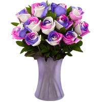 Artful Collection of Assorted Color Roses in a Vase