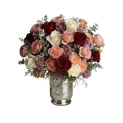Elegant Assorted Roses kept in a Silver Mercury Glass Hurricane Vase
