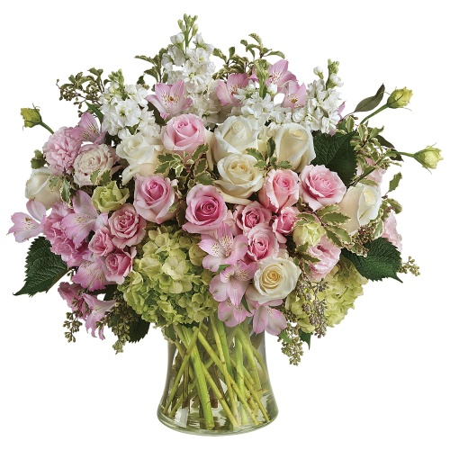 Alluring Pink N White Coloured Roses kept in a Glass Vase