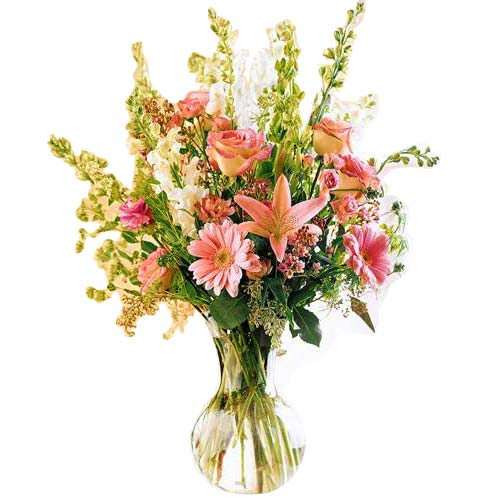 Delicate Assembly of Flowers in a Glass Vase <br>