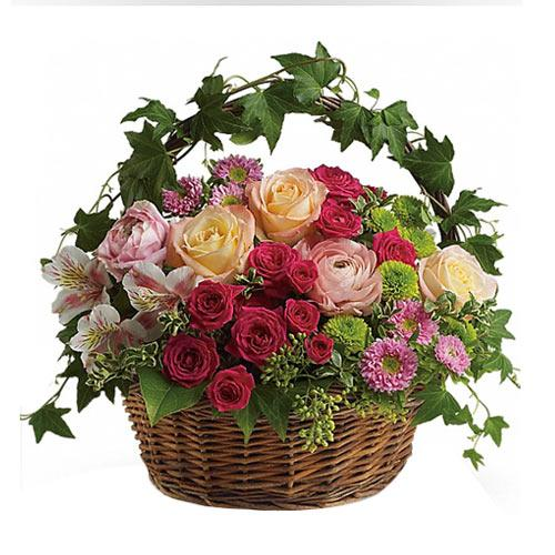 V-Day Celebration Basket of Beautiful Flowers <br>