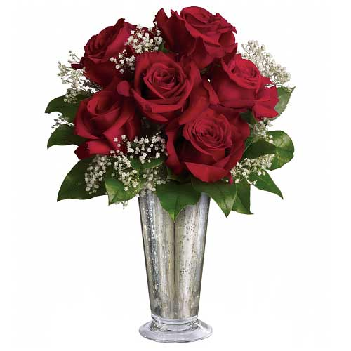 Carefully-Selected Red Roses adorned in a Silver Mercury Glass Vase for Valentines Day