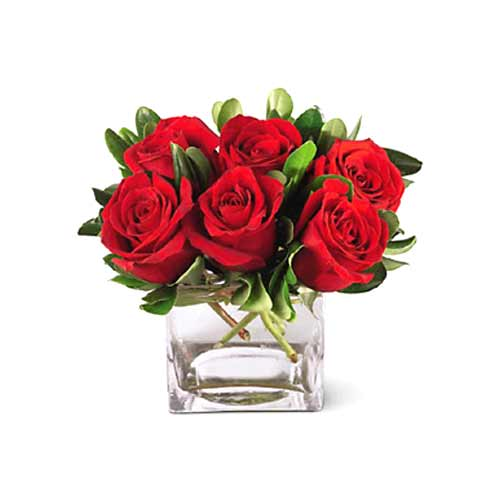 Delightful Red Roses arranged in a Glass Cube Vase<br>