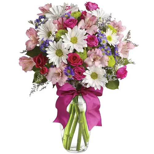 Captivating Pink and White Flowers kept in a Glass Cube Vase<br>