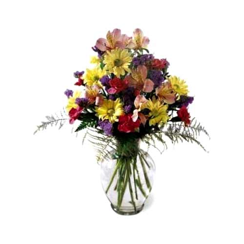 Fantastic Assorted Florals kept in a Glass Vase