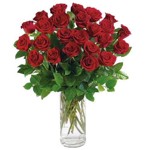 Magnificent Red Roses adorned in a Glass Vase <br>