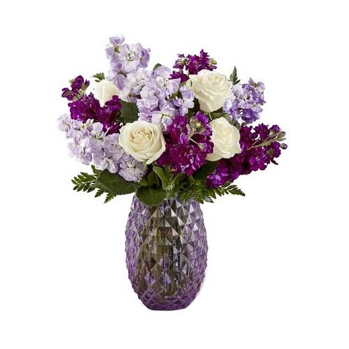 Adorable Gift of Cream Roses N Violet Stocks Floral Bouquet