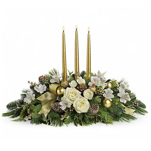 Stylish Golden Table Top Christmas Centerpiece