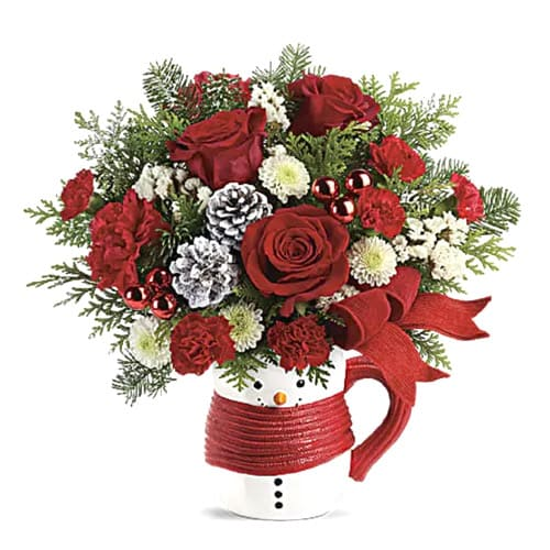 Multicolored Christmas Floral Arrangement in a Ceramic Mug