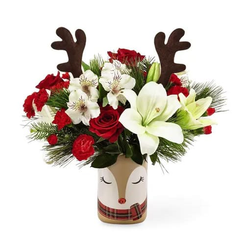 Multicolored Xmas Mixed Floral Arrangements in a Vase