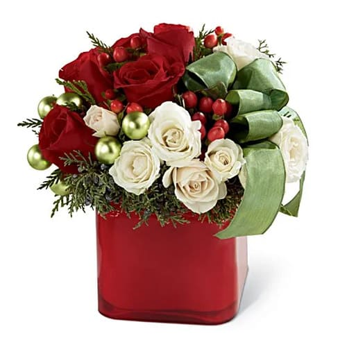 Sweetheart Mix Floral Arrangement in a Red Color Vase
