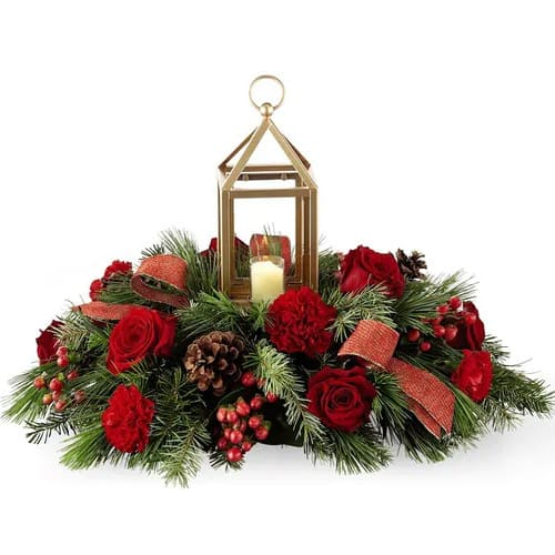 Majestic Christmas Floral Centerpiece with Golden Lantern
