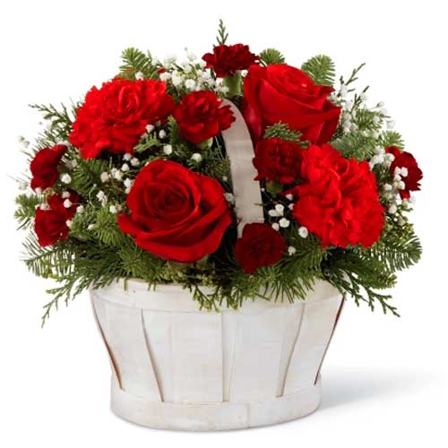 Multi-Colored Floral Basket for Christmas Celebration