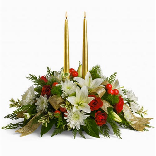 Aromatic Holy Christmas Floral Centerpiece with Candles