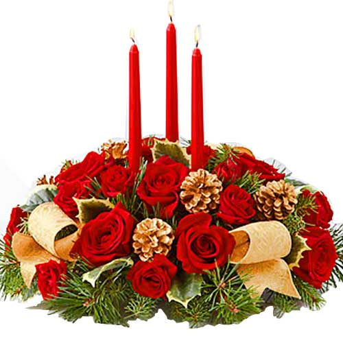 Blushing Christmas Decor Floral Centerpiece