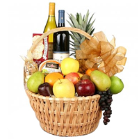 Classy Fruit and Wine Basket
