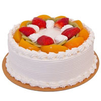 Beautiful Layer Cake Made of Fresh Fruits for Special Occasion