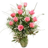 Glorious 12 Pink Roses in Vase