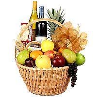 Gourmet Grand Celebrations Fruit and Wine Basket