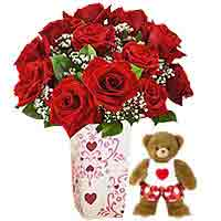 One Dozen Red Roses with Bear Hugs