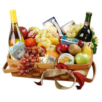 Jolly Wishes Gourmet Fruit Basket with Wine