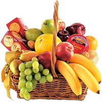 Luscious Fruit Basket with Crackers and Cheese