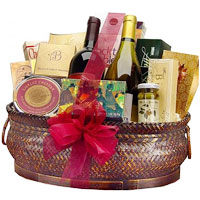 Deluxe Wine and Gourmet Basket One Bottle of Champagne